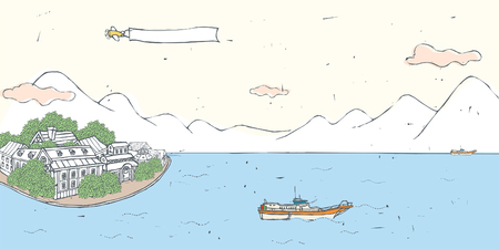 ranges: Airplane pulling blank banner over sea and mountain ranges Illustration