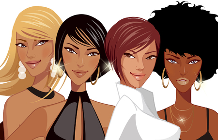 Close-up of four fashion models