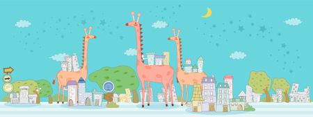 Illustration of giraffes standing on road by building against sky Ilustração