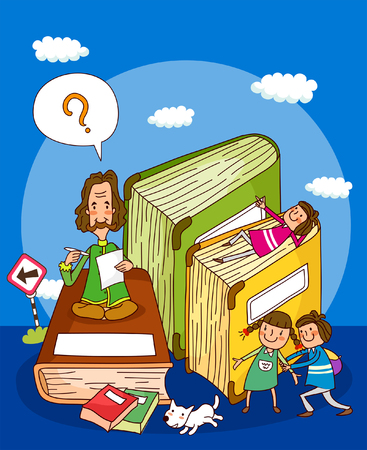 Teacher sitting on a book with two girls standing beside him and another lying on a book
