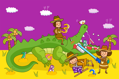 Two girls and a boy playing with a crocodile