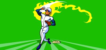Pitcher preparing to pitch a baseball