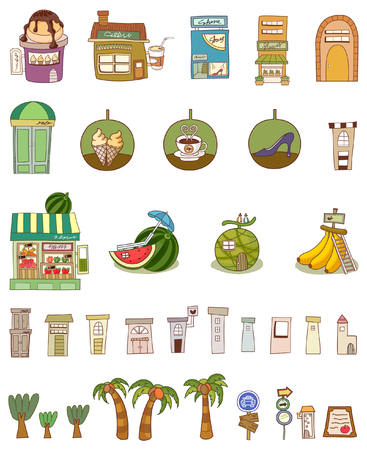 post scripts: Variation of colorful objects displayed in a row against white background