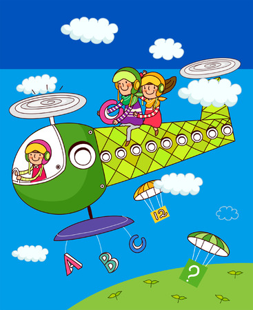 Girl and a boy sitting on a helicopter Illustration