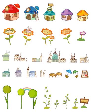 Variatie van kleurrijke objecten die in een rij tegen een witte achtergrond worden weergegeven Stock Illustratie