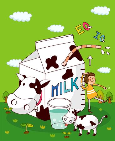 Girl checking her height near a milk box Illustration