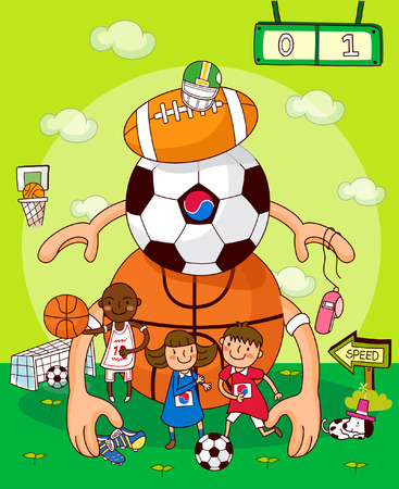 Two boys with a girl standing in front of balls of different games