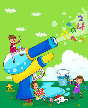 Boy and a girl playing with squirt guns Illustration