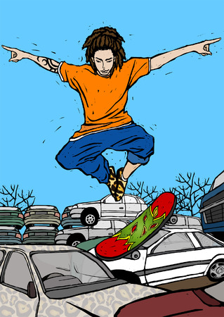 outstretched: Man skateboarding over cars