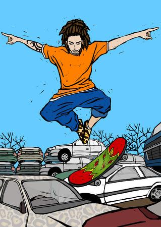 Man skateboarding over cars