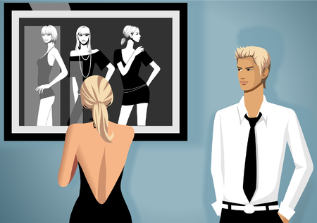 button down shirt: Rear view of a woman standing near a painting with a man standing beside her