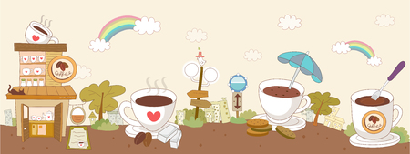 sugar cube: Coffee shop with coffee cups and saucer against sky with clouds and rainbow