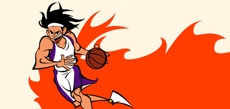 and delighted: Man playing basketball