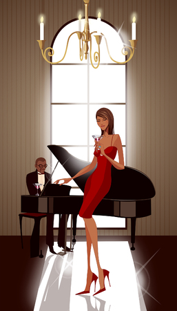 pianista: Side profile of a woman holding a glass of martini with a pianist in the background