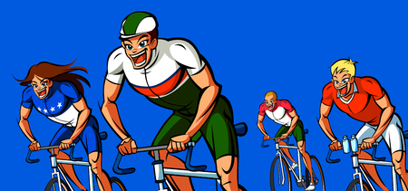 Four men participating in a bicycle race Illustration