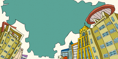 Low angle view of buildings against cloudy sky Ilustrace