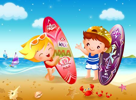 男の子と女の子のビーチでサーフボードを保持