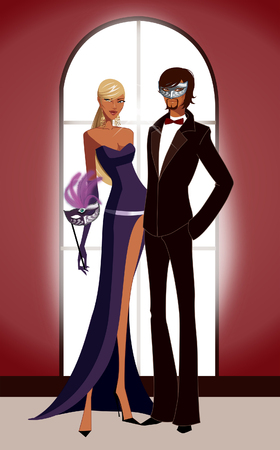 Woman holding a masquerade mask and a man standing with his hand in his pocket Illustration