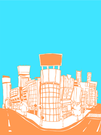 Buildings by road against sky Illustration