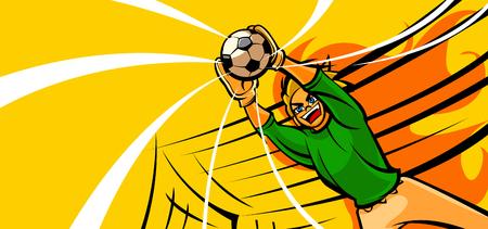 Goalkeeper diving to catch a soccer ball