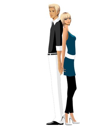 woman looking down: Portrait of a couple standing back to back with holding each others hands