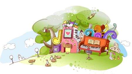 View of an abstract illustration with trees and musical instruments Illustration