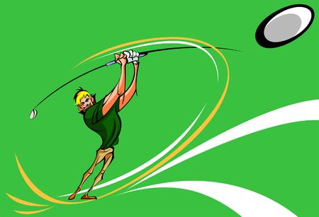 Man hitting a ball with a golf club