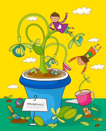 Children playing with potted plants Illustration