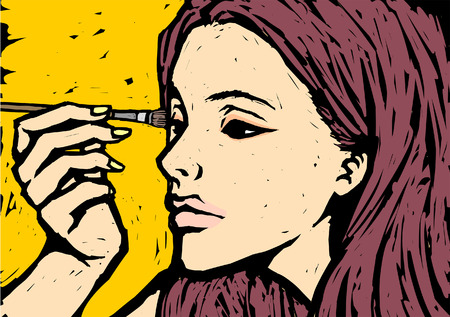in vain: Close-up of a woman applying eye shadow Illustration
