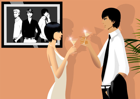 Side profile of a couple toasting with martini glasses Illustration