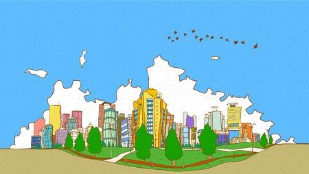 曇り空を背景の建物の上に飛んでいる鳥の群れ  イラスト・ベクター素材