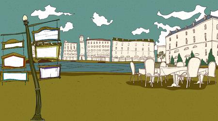 Koffie door rivier met gebouwen op de achtergrond Stock Illustratie
