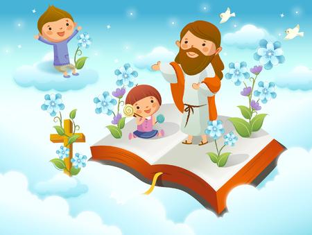 イエス ・ キリスト キリスト、雲の上の 2 人の子供と