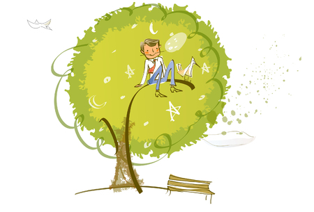 Businessman sitting on the branch of a tree