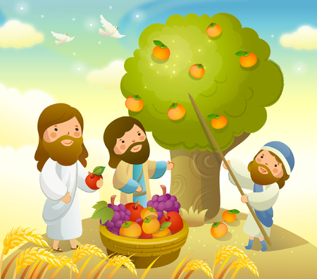 Man picking oranges from the tree with Jesus Christ and another man standing beside him