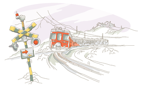 Train moving on a railroad track Illustration