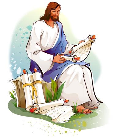 Jesus Christ reading scrolls