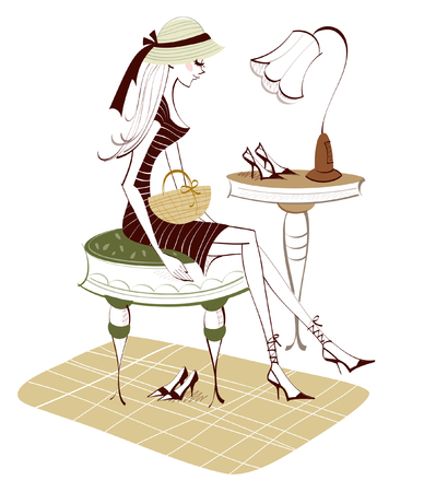 Side profile of a woman sitting on a stool Illustration
