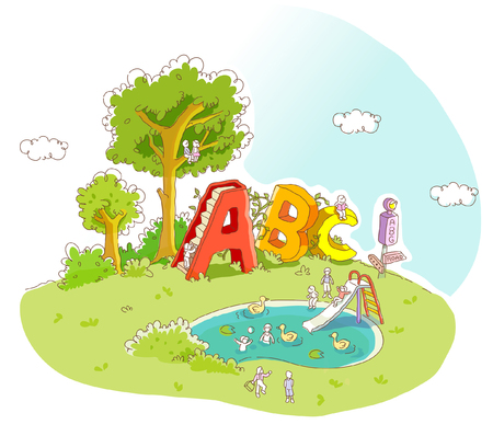 b days: Children playing in a park Illustration