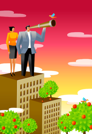looking through an object: Businessman standing on the roof of a building and looking through a telescope with a businesswoman beside him