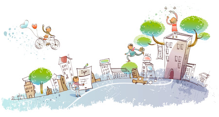Man flying on a bicycle over a city Illustration