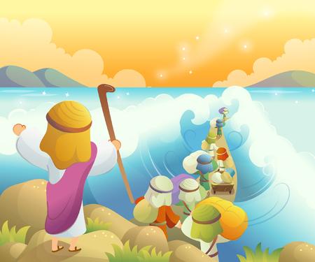Achteraanzicht van Mozes die de Rode Zee afscheidt
