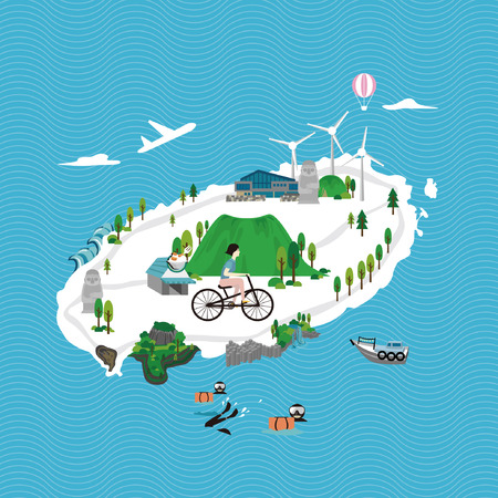 Summer in Jeju - vector illustration Illustration