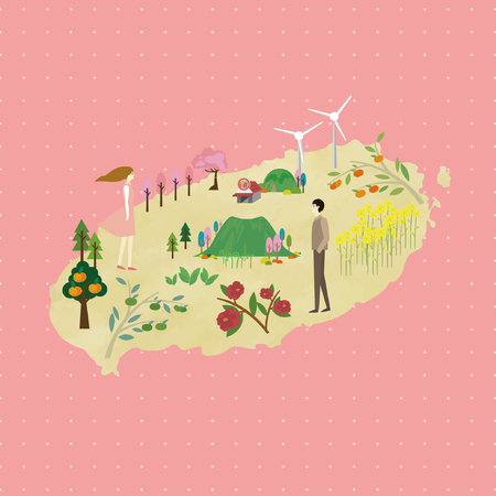 Spring in Jeju - vector illustration Imagens - 78757138