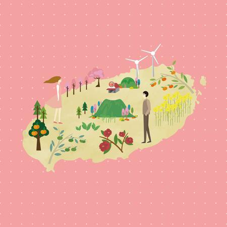 Spring in Jeju - vector illustration