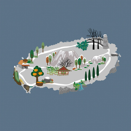 Winter in Jeju - vector illustration