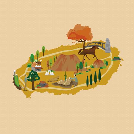 Autumn in Jeju - vector illustration