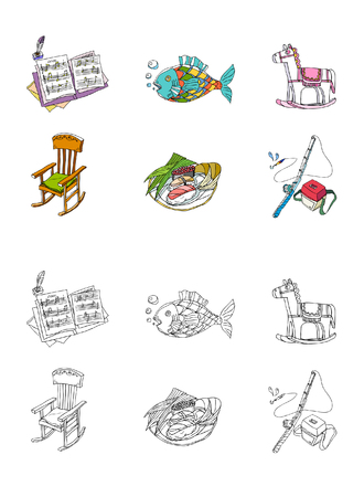 one sheet: Variation of colorful objects displayed in a row against white background