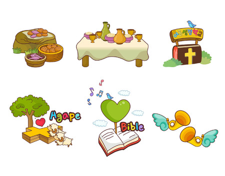 agape: Variation of colorful objects displayed in a row against white background