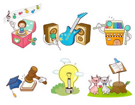 note paper: Variation of colorful objects displayed in a row against white background